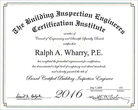 Board Certified Building Inspection Engineer
